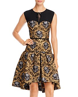 PAULE KA - Tie-Detail Baroque Jacquard Dress