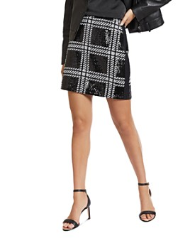 Ted Baker - Hoopss Checkered Sequin Mini Skirt