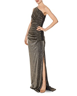 Laundry by Shelli Segal - One-Shoulder Metallic Leopard Gown