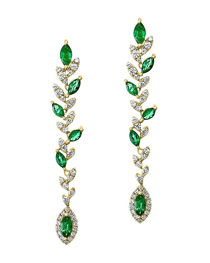 Bloomingdale's - Marquise Emerald & Diamond Drop Earrings in 14K Yellow Gold - 100% Exclusive