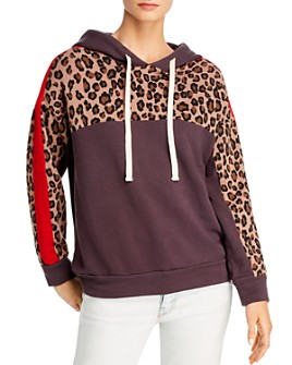 Monrow - Leopard-Panel Hooded Sweatshirt