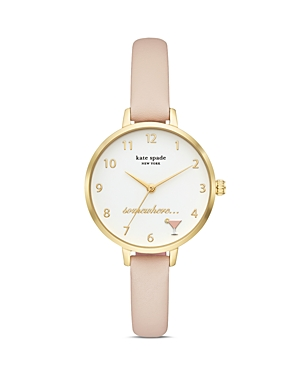 kate spade new york Metro Nude Leather Strap Watch, 34mm-Jewelry & Accessories