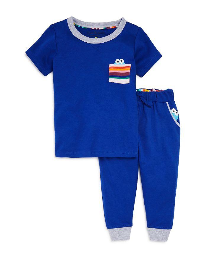 Isaac Mizrahi Loves Sesame Street - Unisex Cookie Monster Pocket Tee & Cookie Monster Jogger Pants, Baby, Little Kid - 100% Exclusive