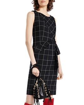 PAULE KA - Virgin Wool-Blend Windowpane-Check Sheath Dress
