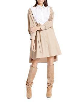 PAULE KA - Color-Blocked Poplin Shirt Dress
