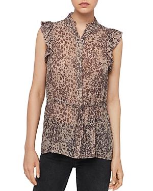 Allsaints Laney Patch Leopard Print Top