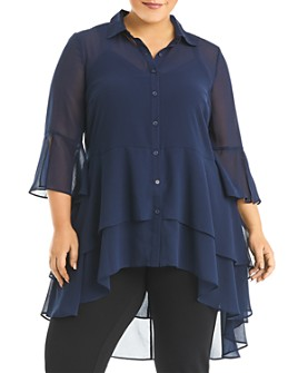 Estelle Plus - Amy Tiered High/Low Blouse