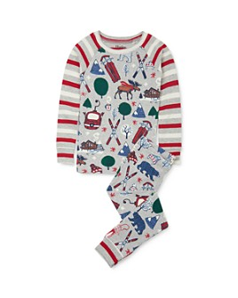 Hatley - Unisex Winter Print Tee & Winter Print Pants Pajama Set - Little Kid, Big