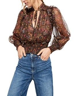 Free People - Twyla Smocked Floral Mesh Top