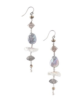 Chan Luu - Cultured Freshwater Pearl Linear Drop Earrings in Sterling Silver