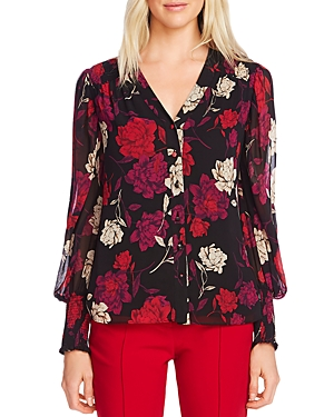Vince Camuto Tops FLORAL SMOCKED-TRIM TOP