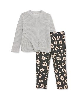 Sovereign Code - Girls' Maisie Twist-Front Sweater & Alana Leopard Leggings Set - Baby