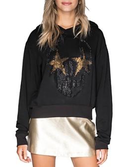 CHRLDR - Embellished Skull Fleece Hooded Sweatshirt