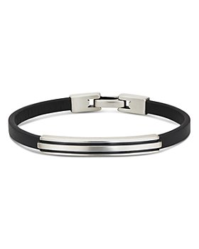 David Yurman - Sterling Silver Deco Black Leather ID Bracelet