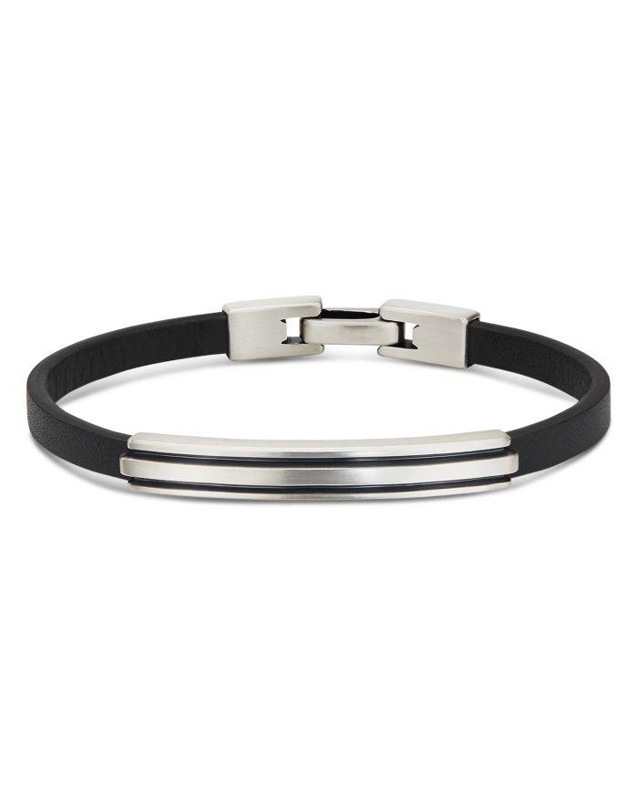 David Yurman Sterling Silver Deco Black Leather ID Bracelet  | Bloomingdale's