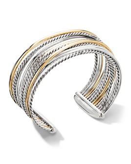 David Yurman - Sterling Silver & 18K Yellow Gold Crossover Wide Cuff Bracelet