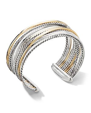 David Yurman Sterling Silver & 18K Yellow Gold Crossover Wide Cuff Bracelet