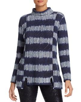 NIC and ZOE - Striped Tie-Dye Turtleneck Sweater