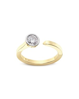 Lightbox Jewelry - Solitaire Lab-Grown Diamond Open Top Ring in Yellow Gold-Plated Sterling Silver