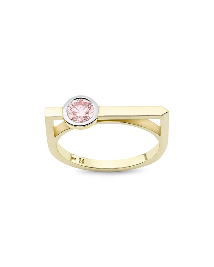 Lightbox Jewelry Solitaire Linear Lab-grown Diamond Ring In Pink/gold