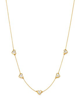 "Adina Reyter - 14K Yellow Gold Diamond Folded Heart Station Necklace, 16"""