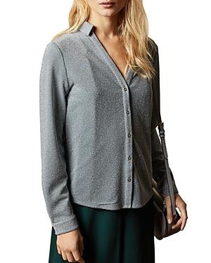 Ted Baker Castelo Metallic Knit Button-Down Shirt