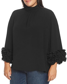 VINCE CAMUTO Plus - Shirred Mock-Neck Ruffle-Cuff Blouse