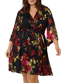 Maree Pour Toi Plus - Silk Floral Burnout Wrap Dress