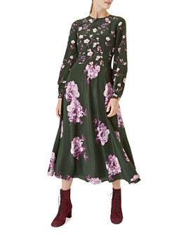 HOBBS LONDON - Winter Rose Silk Midi Dress