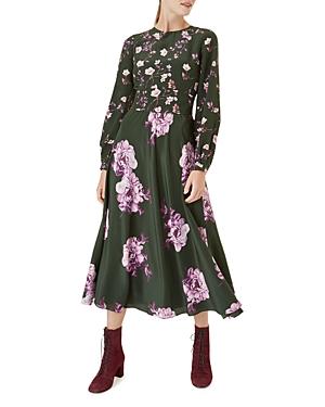Hobbs London Winter Rose Silk Midi Dress