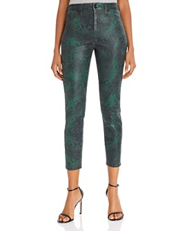 7 For All Mankind - High-Waist Ankle Skinny Jeans in Coated Green Python