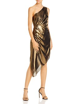 Ramy Brook - Susanna Asymmetric Gold Lamé Dress