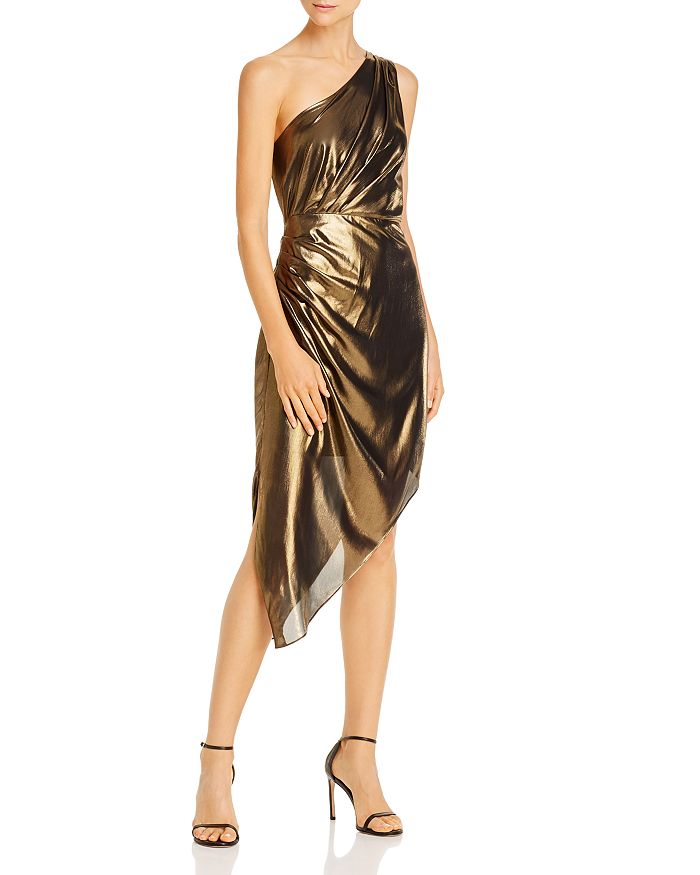 Ramy Brook - Susanna Asymmetric Gold Lamé Dress