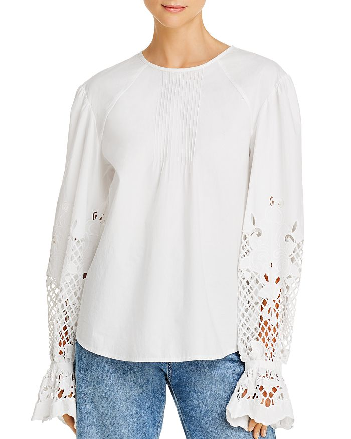 See by Chloé - Pintucked Lace-Detail Blouse