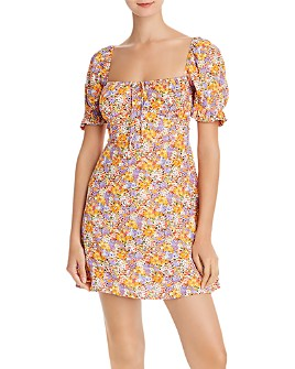 Faithfull the Brand - Iris Floral-Print Puff Sleeve Mini Dress