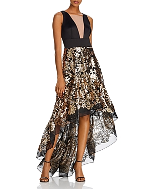 Bronx And Banco Tops LOUISE METALLIC HIGH-LOW GOWN