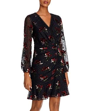 Shoshanna Dresses JULIETTA BOUQUET TOSS VELVET-DETAIL DRESS