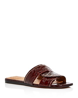 Chloé - Women's Candice Croc-Embossed Slide Sandals