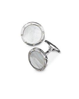 Jan Leslie - Sterling Silver & Mother-of-Pearl Rivet-Detail Cufflinks