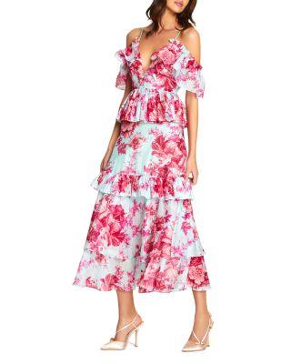 Flamingos In Sunglasses Flared Maxi Dress