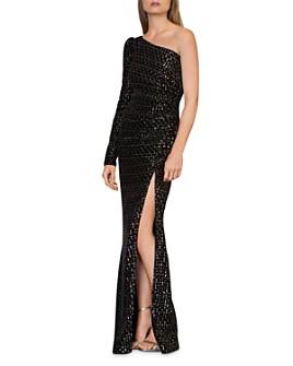ML Monique Lhuillier - One-Shoulder Sequin Velvet Gown