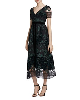MARCHESA NOTTE - Embroidered Guipure Lace Midi Dress