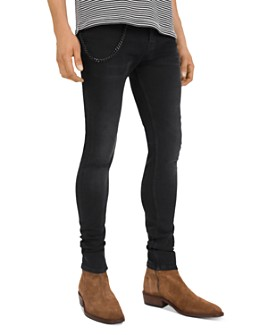 The Kooples - Leather-Trimmed Skinny Jeans in Black Wash