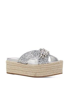 Miu Miu - Women's Crystal-Embellished Glitter Platform Sandals