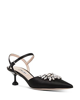 Miu Miu - Women's Crystal-Embellished Satin Kitten Heel Pumps