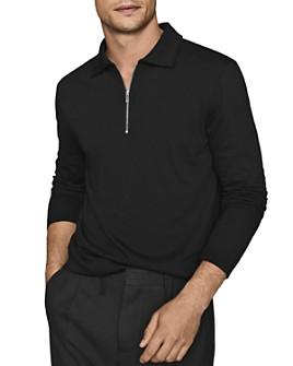 REISS - Swinton Long-Sleeve Half-Zip Polo Shirt