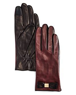kate spade new york - Bow Detail Leather Tech Gloves