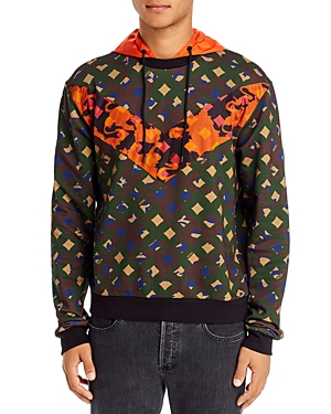 Mcm Mixed-Media Color-Block Hooded Logo Sweatshirt