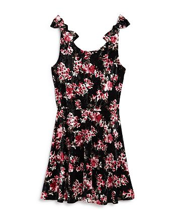 AQUA - Girls' Floral Print Velvet Dress, Big Kid - 100% Exclusive