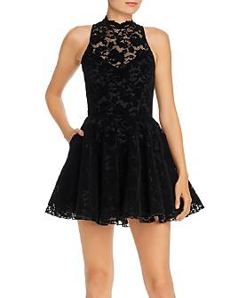 Saylor - Velvet Lace Fit and Flare Mini Dress